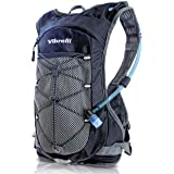 Vibrelli Hydration Backpack & 2L Hydration Bladder - High Flow Bite Valve - Hydration Pack for Cycling, Running, Hiking