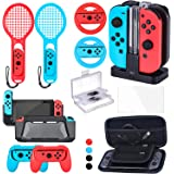 Zadii Accessories Bundle Compatible with Nintendo Switch, Accessories Kit with Tennis Racket, Steering Wheel, Joy-con Grip, 4
