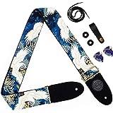 Himalaya Guitar Strap Crane Japanese Tranditional Pattern Tsuru Canvas Cotton W/FREE BONUS- 2 Picks + Strap Locks + Strap But