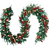 FUNARTY 9 Feet by 12 Inch Christmas Garland with 50 LED, Many Types of Green Leaves with Pinecones Red Berries for Winter Chr