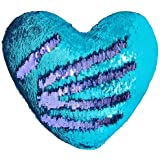 """Play Tailor Mermaid Throw Pillow with Insert Reversible Sequins Pillow Heart Shape Decorative Cushion(13"""" x 15"""",Bright Green+"""