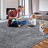Qumig Luxury Area Rug Ultra Soft Shag Rug Non-Slip Fluffy Rugs 5.3x7.5 Feet Gray Carpet Indoor Plush Rugs for Bedroom Living