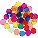LEARNING ADVANTAGE Transparent Plastic Counters - Steel-Ringed - Set of 50 - Magnetic - Assorted Colors - Great for Kindergar