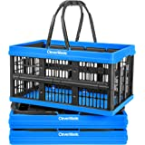 CleverMade Collapsible Plastic Grocery Shopping Baskets: Small Folding Stackable Storage Containers / Bins with Handles, Pack
