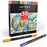 ARTEZA Fabric Markers, Set of 30 Assorted Colors, Permanent and Machine Washable Ink Ideal for Coloring Jeans, T-Shirts, Snea