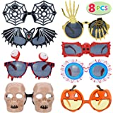 JOYIN Pack of 8 Halloween Glasses Frame Costume Eyeglasses for Halloween Party Supplies and Party Favors, Assorted Styles (On