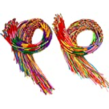 Resinta 100 Pieces Handmade Braided Bracelets Assorted Colors Friendship Cords Thread Bracelets Party Supply Favors for Wrist