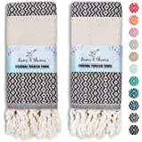 RUMI & SHAMS Turkish Hand Towel for Bathroom and Kitchen – 2 Pcs Luxurious Decorative Hand Towels for Bathroom – 100% Cotton