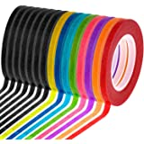 Cridoz 15 Rolls 1/8 Whiteboard Thin Tape Pinstripe Art Tape Dry Erase Board Grid Tape Lines Pinstriping Electrical Marking Ta