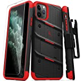 Zizo Bolt Cover - Case for iPhone 11 Pro Max with Military Grade + Glass Screen Protector & Kickstand and Holster (Black/Red)
