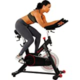 Sunny Health & Fitness Magnetic Belt Drive Indoor Cycling Bike with 44 lb Flywheel and Large Device Holder, Black, Model Numb