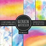 Rainbow Watercolor Scrapbook Paper Pad Vol.1 Decorative Crafts Scrapbooking Kit Collection for Card Making, Origami, Stationa