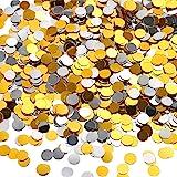 TecUnite 3.5 oz Confetti Dots Silver and Gold Glitter Confetti Circles 1/4 Inch Metallic Dot Confetti for Birthday Wedding Ho
