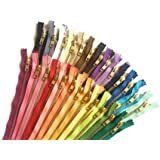 Assorted Zippers 6 Inch YKK Metal Zippers in Gold No.5 Zippers for Bags Set of 25