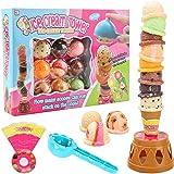 BigOtters アイスクリームおもちゃ スイートトリートアイスクリームタワー バランスゲーム スタッキングゲーム アイスクリームパーラー ごっこ遊び 食品デコレーションキット 子供の誕生日プレゼントに