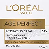 L'Oréal Paris Age Perfect Hydrating Day Moisturiser for Mature Skin Moistuiser, with Soya Bean Extract and Melanin Block, 50m