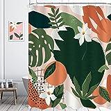 KOMLLEX Fabric Abstract Orange Shower Curtain Set Bathroom Decor 60Wx72H Inch Nature Plant Botanical Bath Accessories for Wom