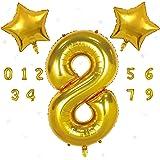READYSETGO! 40 Inch Gold Number 8 Balloon Birthday Decoration, Birthday Banner, Birthday Balloon, Number Balloon, Helium Ball
