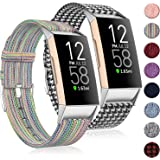 (2 Pack) Witzon Fabric Woven Bands Compatible with Fitbit Charge 4 / Charge 3 / Charge 3 SE, Breathable Canvas Replacement St