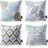 "Phantoscope New Living Series Decorative Throw Pillow Case Cushion Cover 18"" x 18"" 45cm x 45cm Set of 4 Water Blue"