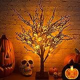TURNMEON LED Light Up Halloween Birches Tree Decor Battery Powered Tabletop Tree Lights for Halloween Indoor Tabletop Decorat