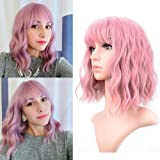 Pastel Wavy Wig With Air Bangs Women's Short Bob Pink Wig Curly Wavy Shoulder Length Pastel Bob Synthetic Cosplay Wig for Gir