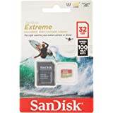 Sandisk Extreme microSDHC, SQXAF 32GB, V30, U3, C10, A1, UHS-1, 100MB/s R, 60MB/s W, 4x6, SD Adaptor, Lifetime Limited, Actio
