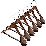 Extra Wide Shoulder Wooden Hangers - Set of 6 - Heavy Duty Coat Hanger for Suit, Jacket, Non Slip Bar for Pants, Anti-Rust 36