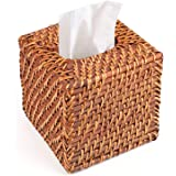 Yesland Rattan Tissue Box Cover - 5.8 x 5.8 x 5.5 Inches - Ideal for Living Room, Bedroom, Bathroom in Indoor and Outdoor Use