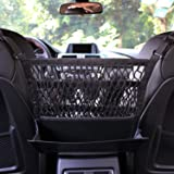 AMEIQ 3-Layer Car Mesh Organizer with Leather Box, Seat Back Net Bag, Barrier of Backseat Pet Kids, Cargo Tissue Purse Holder