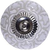 Mela Artisans 12-Pack Ceramic Knobs for Dresser Drawers - Decorative Carved Cabinet Handles - Drawer Knobs and Pulls - Cabine