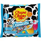 Chupa Chups Mini Lollipops, 40 Candy Suckers for Kids, Cremosa Yogurt, 2 Assorted Creamy Flavors, for Gifting, Parties, Offic