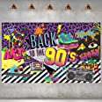 90s Theme Backdrop Hip Hop Graffiti Back to 90's Party Banner Background 72.8x43.3 Inch Fabric Wall Table Decorations Photo B