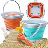 OR OR TU 6 Pcs Foldable Sand Backets Beach Toys Set for Kids Collapsible Bucket Castle Molds Shovels Rake Tool Kits, Gifts fo