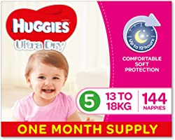 Huggies Ultra Dry Nappies, Girls, Size 5 Walker (13-18kg), 144 Count, One-Month Supply, Packaging May Vary