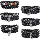 Jstyle 8mm Healing Beads Pendant Necklaces for Mens Black Matte Agate Lava Rock Stone Chakra Yoga Beaded Bracelet Necklace Se