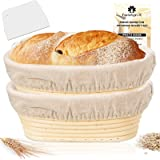 Farielyn-X 2 Packs 10 Inch Oval Shaped Bread Banneton Proofing Basket - Baking Dough Bowl Gifts for Bakers Proving Baskets fo