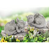 Dragon Garden Statues Set of 2, Whimsical Gargoyle Decorations for Outside, Resin Animals Outdoor Statues, Spring Decor for H