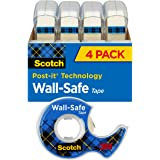 Scotch Brand Wall-Safe Tape, Sticks Securely, Removes Cleanly, Invisible, Engineered for Posting, 3/4 x 650 Inches, 4 Dispens