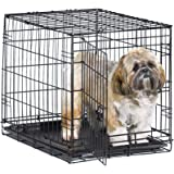 "New World 24"" Folding Metal Dog Crate, Includes Leak-Proof Plastic Tray; Dog Crate Measures 24L x 18W x 19H Inches, for Small"