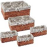 (5 Pack, Brown) - Nesting Baskets 5 Piece Set - Storage and Organisation Wicker Canvas Basket - Brown Decorative Storage Bins