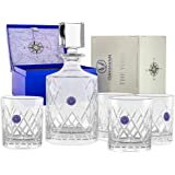 Premium Whiskey Decanter and Glass Set Hand Cut Large 32oz Lead Free Crystal Decanters 12oz Old Fashioned Glasses Gift Box fo