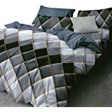 Essina Microfiber Queen Quilt Cover Duvet Cover Doona Cover Set 3pc Arcadia Collection, Soft and Lightweight, Diamond Black