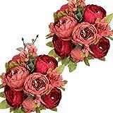 Nubry Artificial Peony Silk Flowers Bouquet for Wedding Home Garden Decoration Dark Red*2