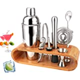 BRITOR Cocktail Shaker Set Bartender Kit,10-Piece Cocktail Kit Bar Tool Set with Bamboo Stand - Stainless Steel Cocktail Set