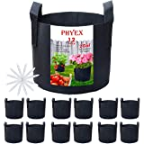 PHYEX 12-Pack 2 Gallon Nonwoven Grow Bags, Aeration Fabric Pots with Durable Handles, Come with 12 Pcs Plant Labels