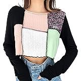 Meladyan Women's Color Block Patchwork Crop Tshirt Long Sleeve Ribbed Lettuce Trim Crop Tee Shirts Tops 90S E-Girls