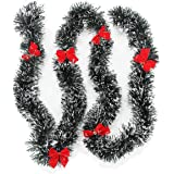vannyster Christmas Tinsel Garland Decor, Dark Green Snowy White Tips Garland with Red Bows, Holiday Party Xmas Tree Decorati