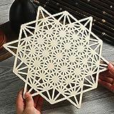 Simurg 11.5'' 64 Grid Star Tetrahedron Crystal Grid Wooden Crystal Grids Sacred Geometry Wall Art Hanging Wall Sculpture Medi