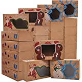 """24 PCs Christmas Cookie Gift Baking Box 8.75"""" x 5.75"""" x 2.75"""" with Window Auto-Popup for Pastries, Cupcakes, Cookies, Brownie"""
